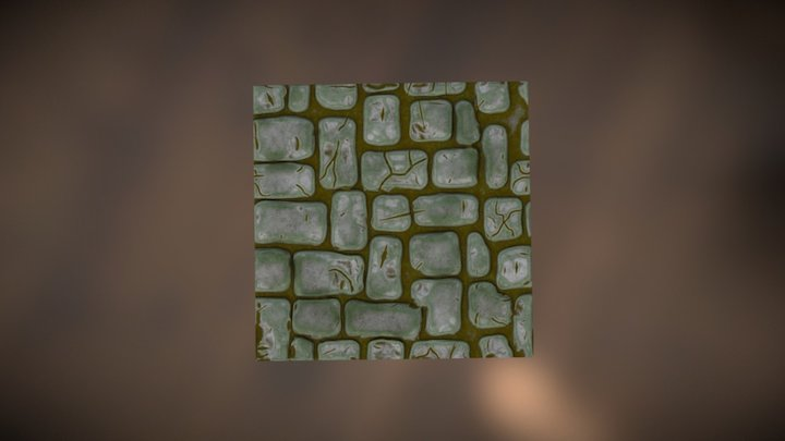 Stylized brick wall - Tileable texture 3D Model