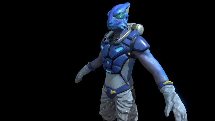 Reptilian Bioscientist 3D Model