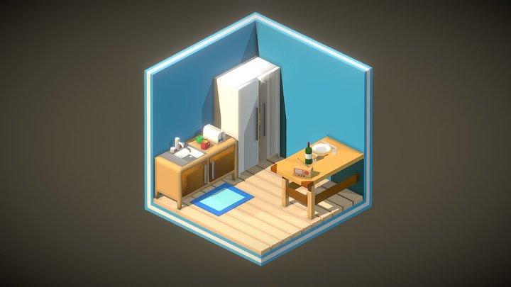 Isometric Tile Kitchen 3D Model
