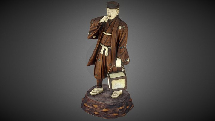 Japanese Meji period statue of a man smoking 3D Model