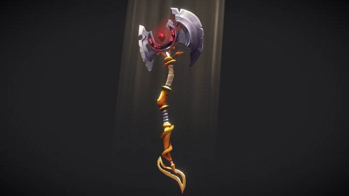 """Corrupted Axe of Purity"" - Handpainted Axe 3D Model"