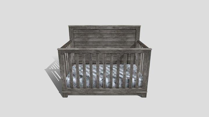 Wooden Baby Crib 3D Model