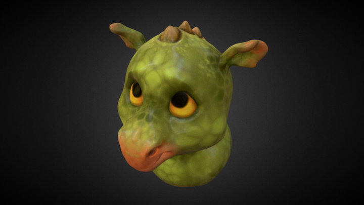 Baby Dragon Bust 3D Model