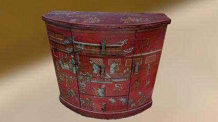 Red Asian Cabinet 3D Model