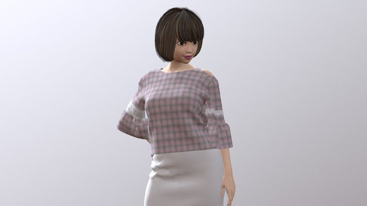 Frill Sleeve Tops 3D Model