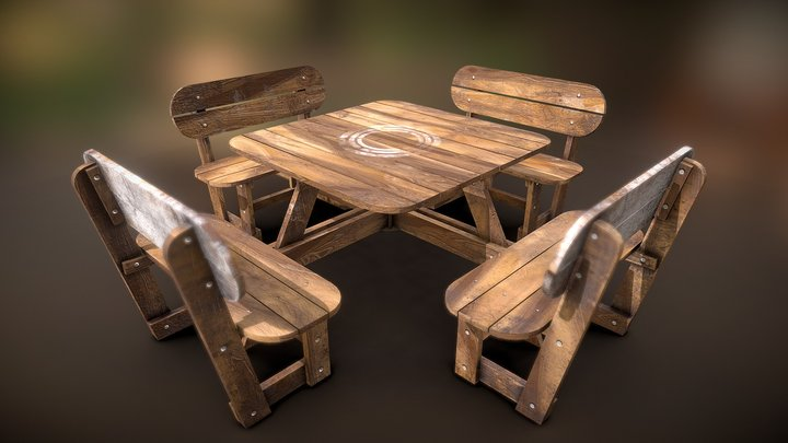 Realistic wooden garden bench 3D Model