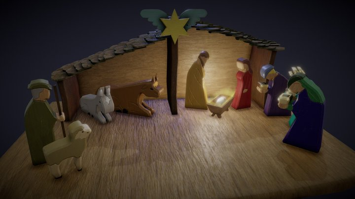Nativity Scene - used wooden Toys 3D Model