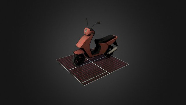 Scooter (Red) 3D Model