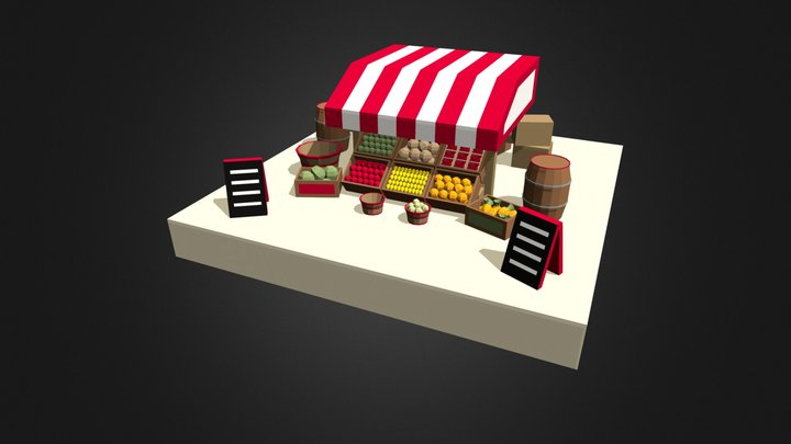 Fruits Stand - LowPoly City 3D Model