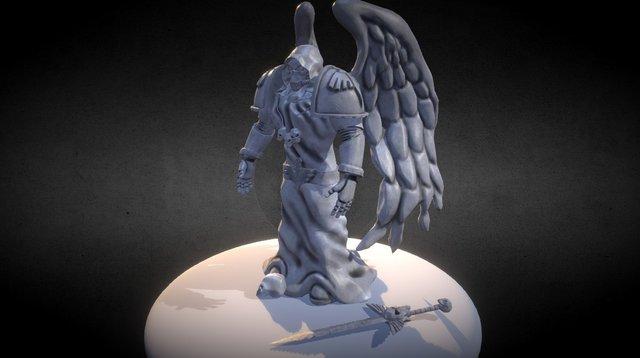 Dark Angel Space Marine Statue low poly 3D Model
