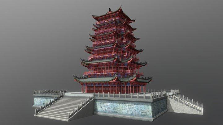 Asian Tower 3D Model