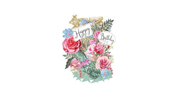 """""""Dancing"""" Pop Up Greetings Card 3D Model"""