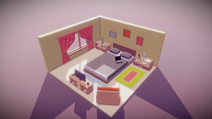 Low Poly Bedroom 3D Model