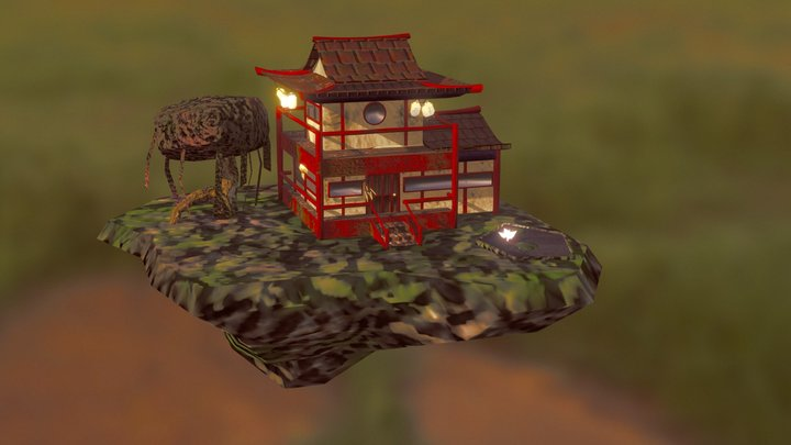 Low Poly Chinese Temple Styled House 3D Model