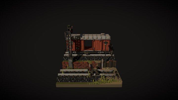 Abandoned Train Wagon 3D Model