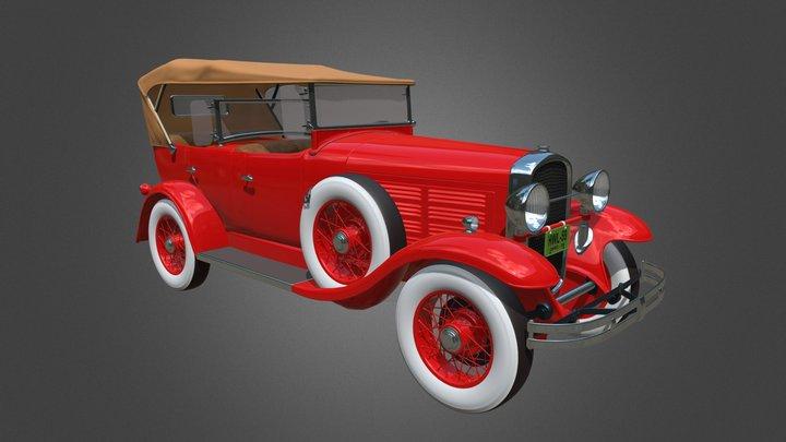 Automobile old 1929 Jordan Speedster Car 3D Model