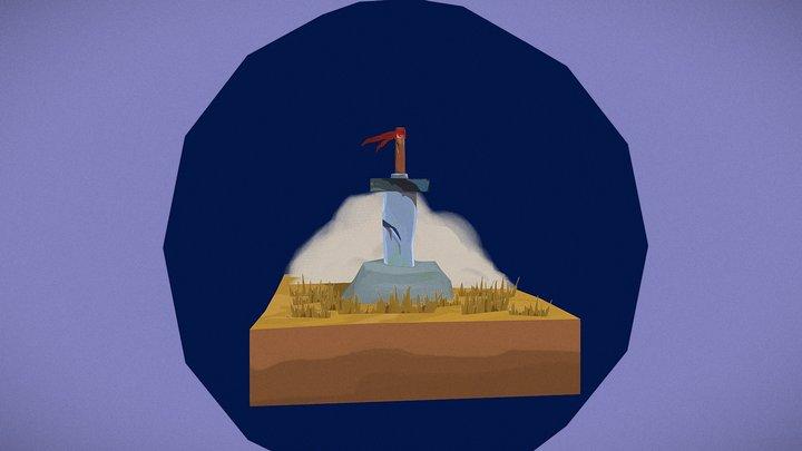 Sword in a Rock Scene 3D Model