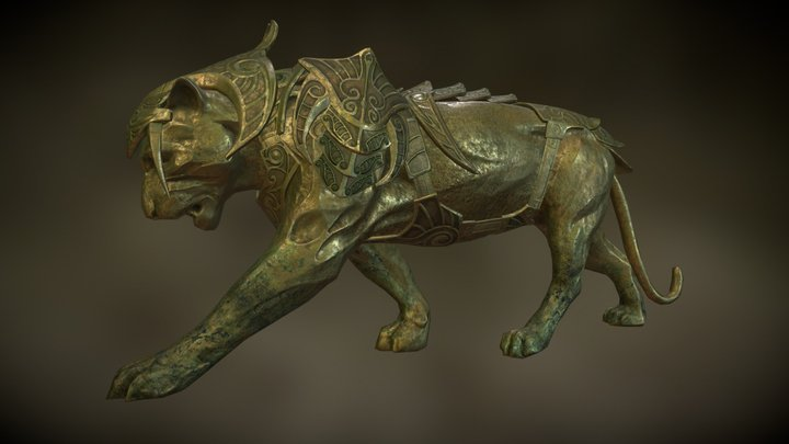 Panther Armor Statue 3D Model