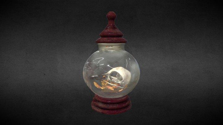 Spoopy Birb Skull in Glass 3D Model