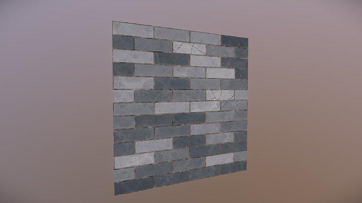 Blue Brick Wall Texture 3D Model