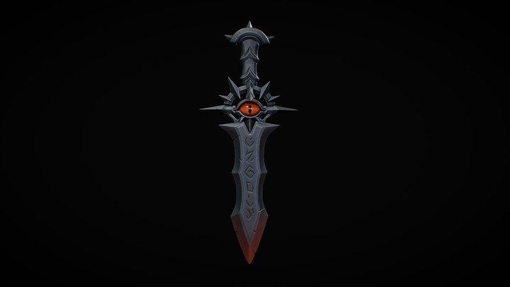 Stylized low poly sword. 3D Model