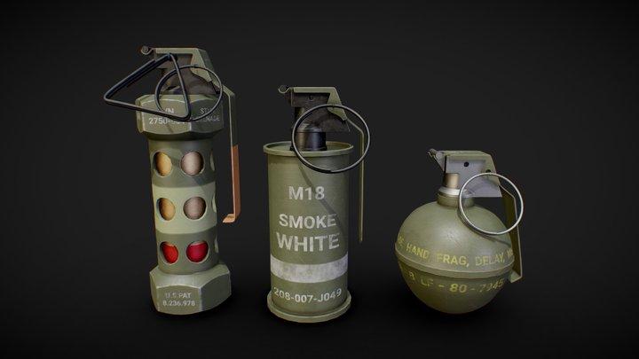 Game Ready Grenades 3D Model