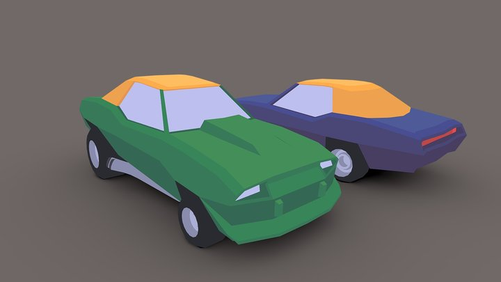 Low Poly Dragster Car 3D Model