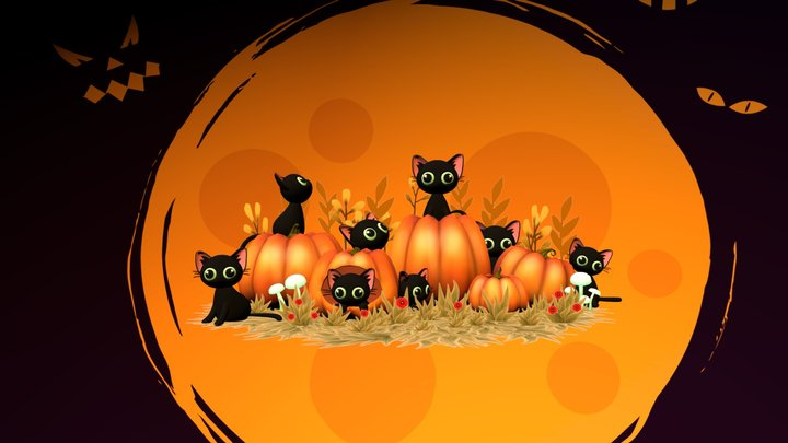 Halloween Cat and Pumpkin 3D Model