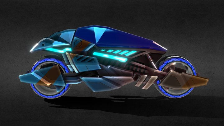 Sci-fi motorcycle from 32 Secs game 3D Model