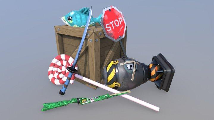 ScreenCheat Unplugged - Stylized Weapons 3D Model