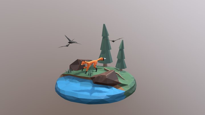 Low-Poly Fox in Forest 3D Model