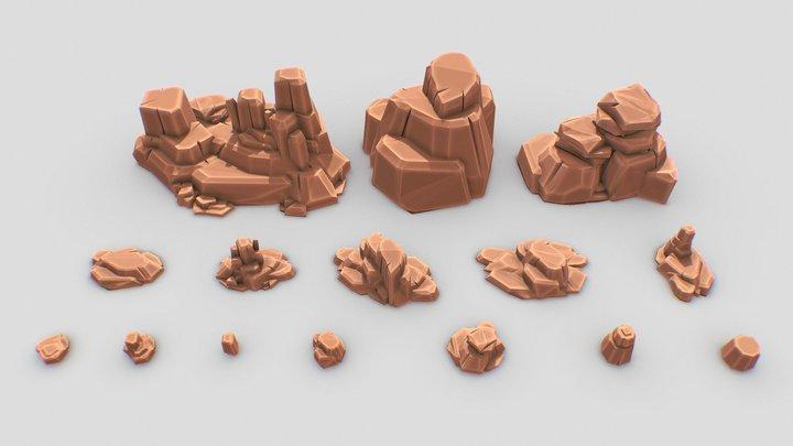 Desert   Rocks   Stones   Pack 3D Model