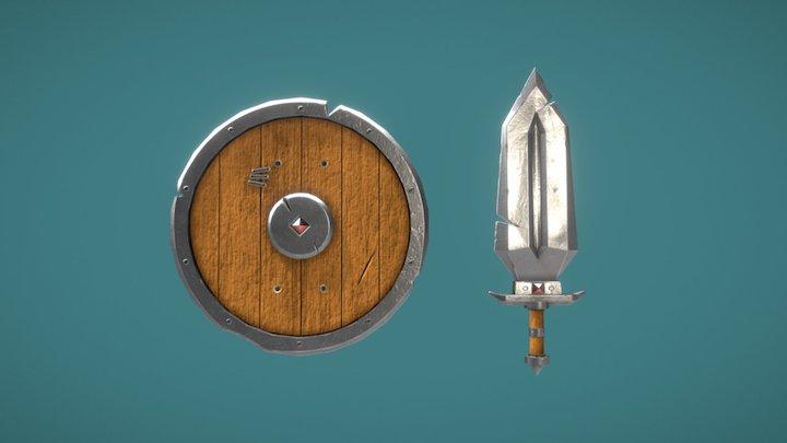 Fantasy Sword And Shield 3D Model
