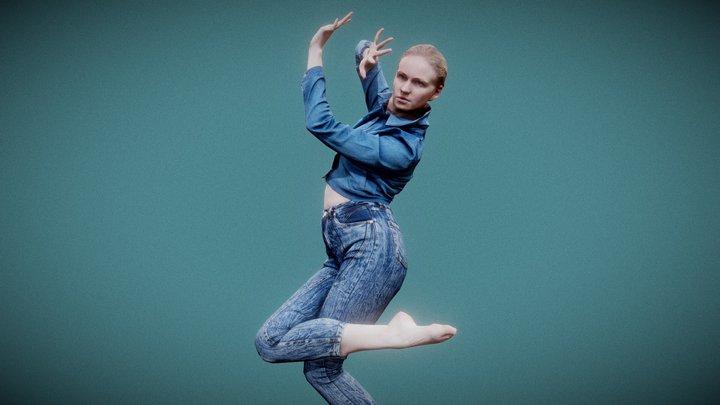 Jeans Pants Girl Dancing 3D Model