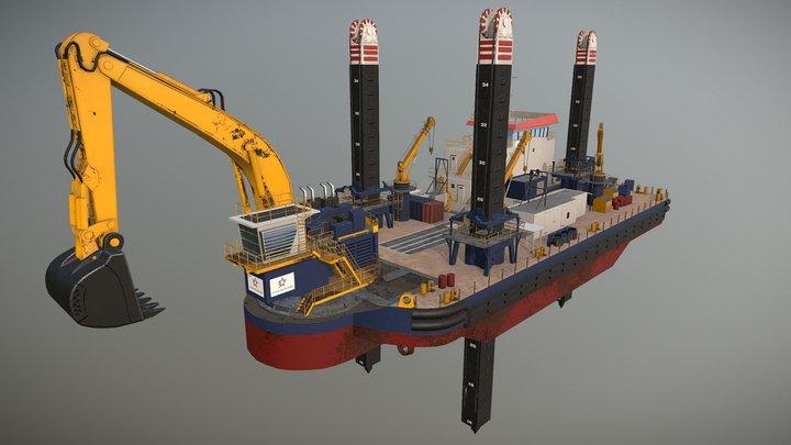 Backhoe Dredger - Draga Retroexcavadora 3D Model