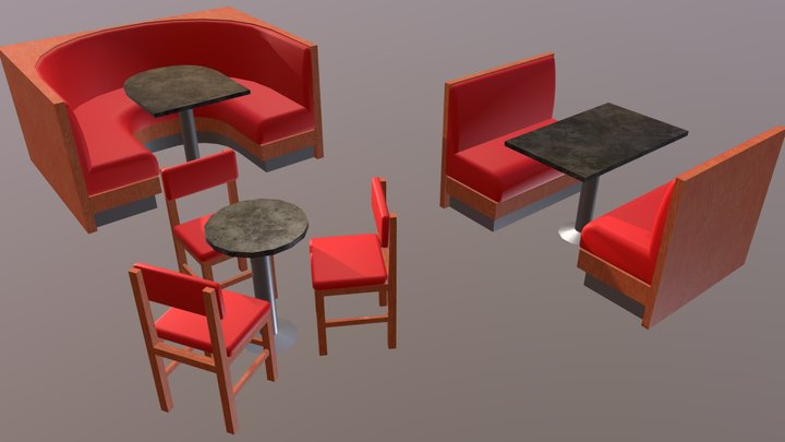 Low poly bar table and booths set 3D Model