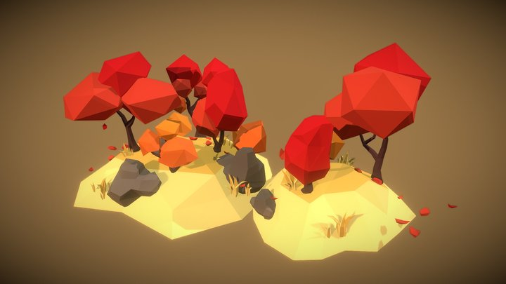 Simple Autumn Tree Set - Faceted Style 3D Model
