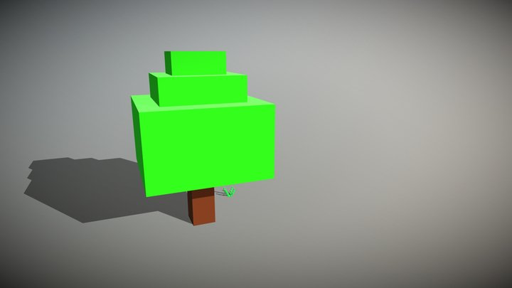 Voxel tree and grass 3D Model
