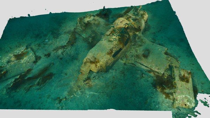 Piper Warrior Wreck (Catalina Island) 3D Model