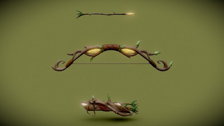 Stylized Forest Bow 3D Model