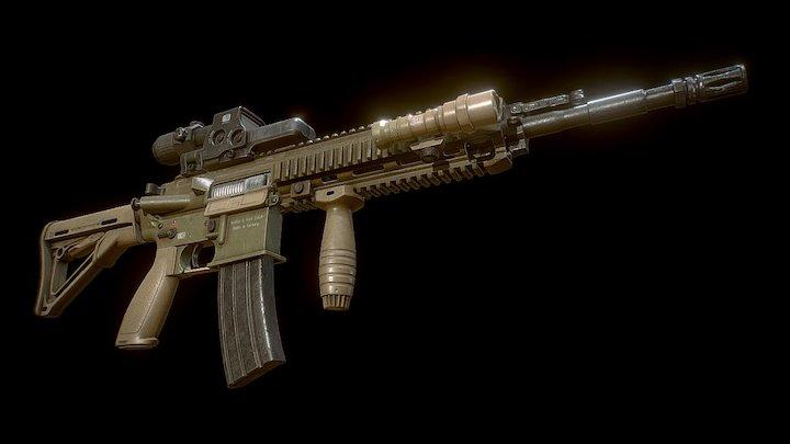 HK416 A5 Assault Rifle 3D Model