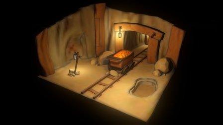 Cartoon Mine Diorama 3D Model