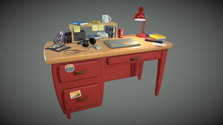 Andy's Desk (from Toy Story 3) 3D Model