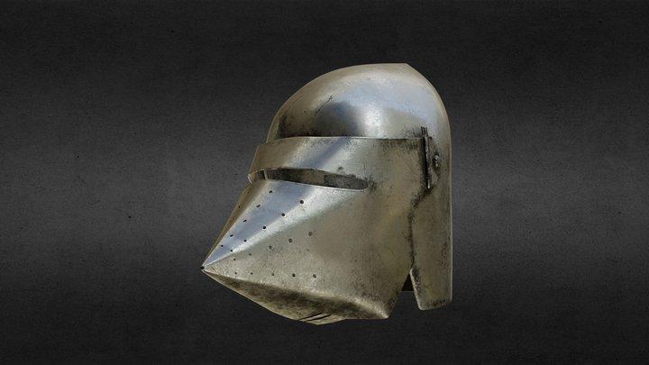 Medieval Knight Bascinet Helmet with visor 3D Model