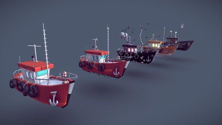 Ships drafts lowpoly models 3D Model