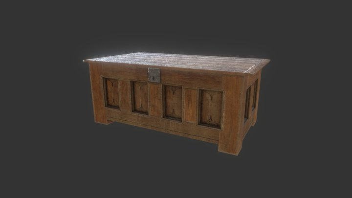 Late Medieval French Oak Bench Chest 3D Model