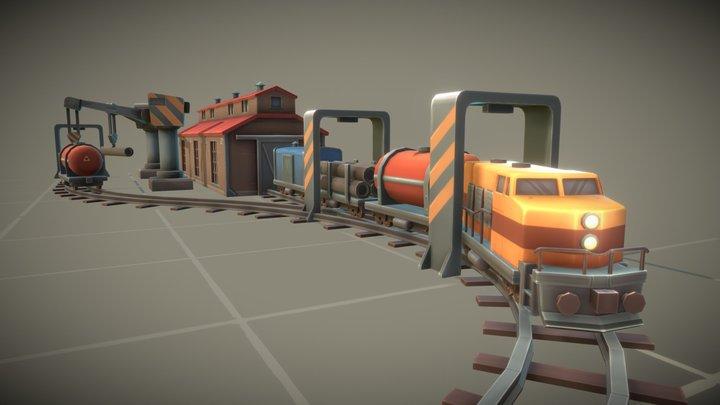 Cube Train Station 3D Model