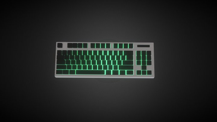 Simple Keyboard Low Poly 3D Model