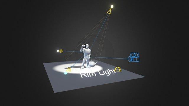 3D1-W15-Three Point Lighting (Standard Light) 3D Model