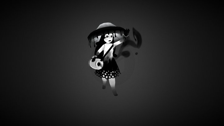 Inky Cap Mushroom Witch 3D Model